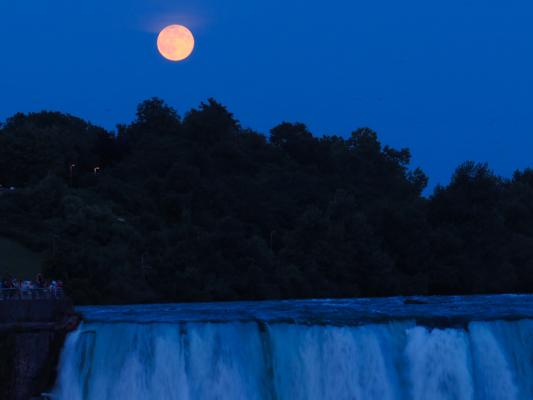 Close-up of Super Moon over Niagara Falls
